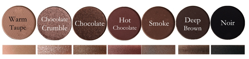 Fard Ochi Individual Anastasia: Warm Taupe, Chocolate Crumble, Chocolate, Hot Chocolate, Smoke, Deep Brown, Noir