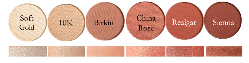Fard Ochi Individual Anastasia: Soft Gold, 10K, Birkin, China Rose, Realgar, Sienna